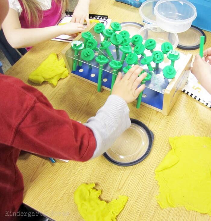 Kindergarten playdough center to work on reading skills