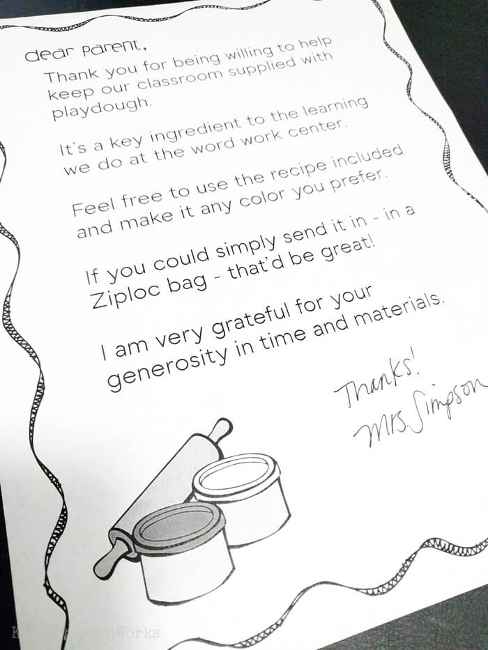 Parent Volunteer Letter to Make Classroom Playdough in Kindergarten