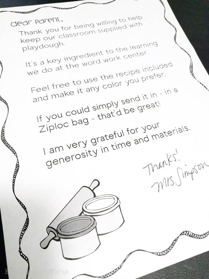 Parent Volunteer Letter to Make Classroom Playdough in Kindergarten