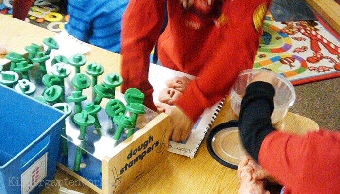 Playdough Center for Kindergarten with Letter Stamps Holder