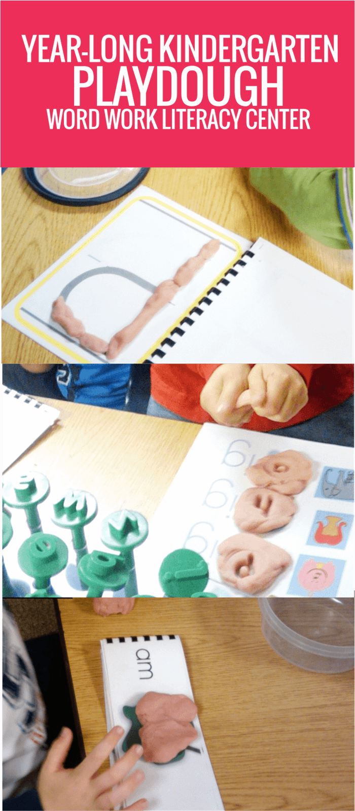 Year Long Playdough Literacy Center for Kindergarten Word Work