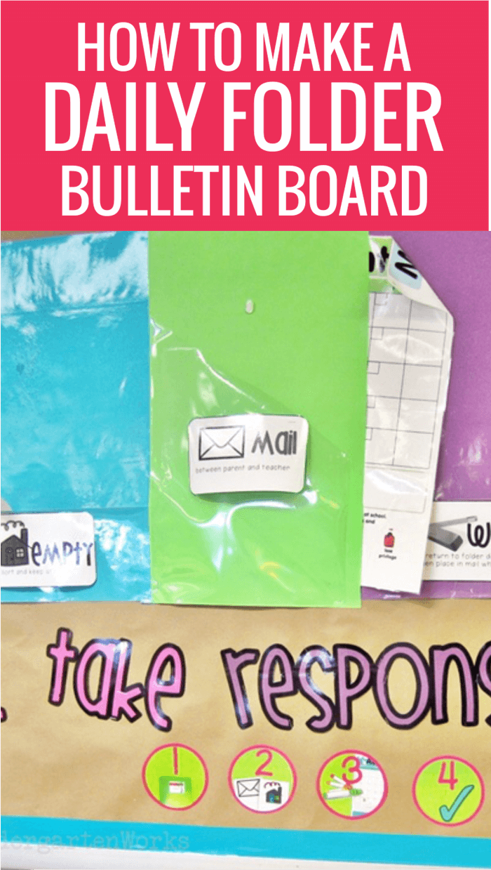 Teach students how to organize their daily folders in kindergarten using a bulletin board