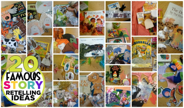 20 famous story retelling ideas and printables - kindergarten retell literacy center