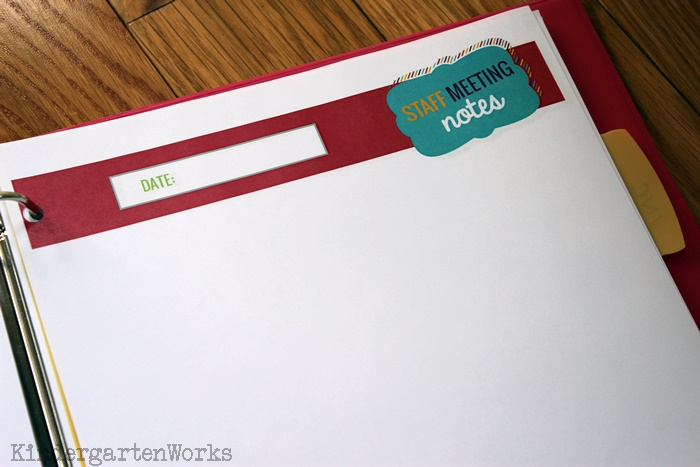 Staff Meeting Notes - KindergartenWorks