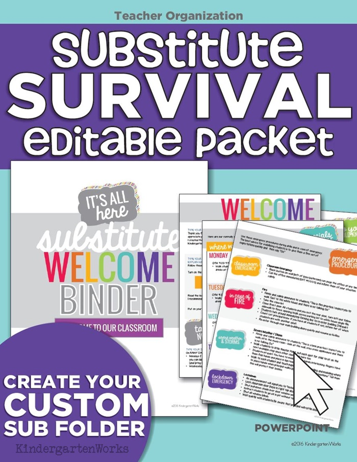 How to prepare for a sub -Substitute Welcome Packet Editable - I could easily drop my info into this and be done