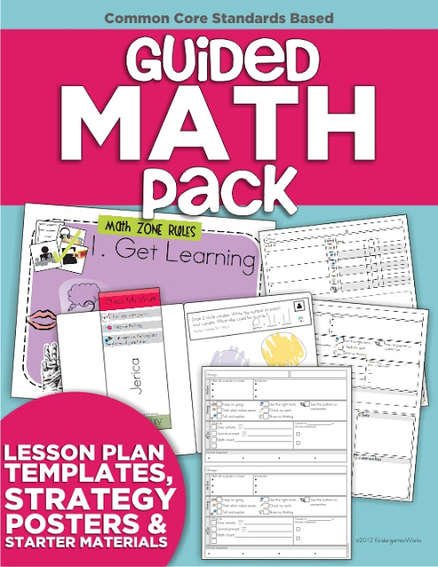 Guided Math Pack for Kindergarten (Lesson Plan Templates, Strategy Posters & More)