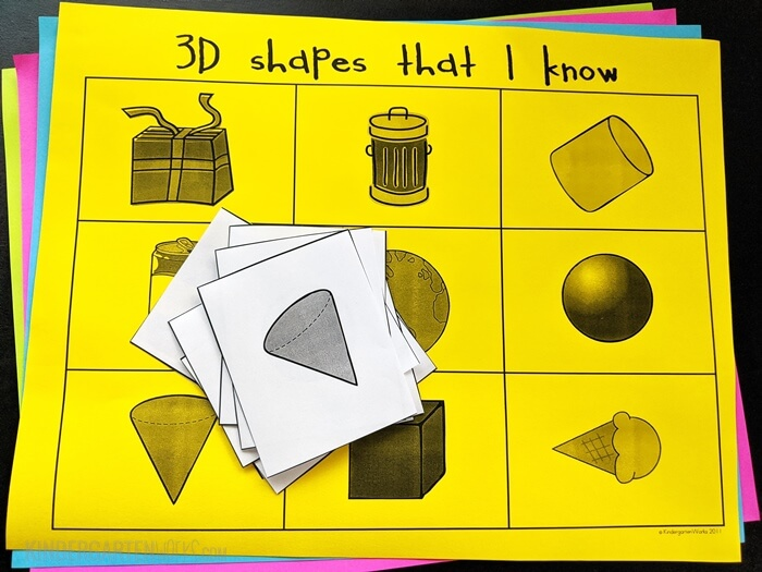 3D Shape Bingo for Kindergarten (Free download) with both real world examples and basic 3D shapes