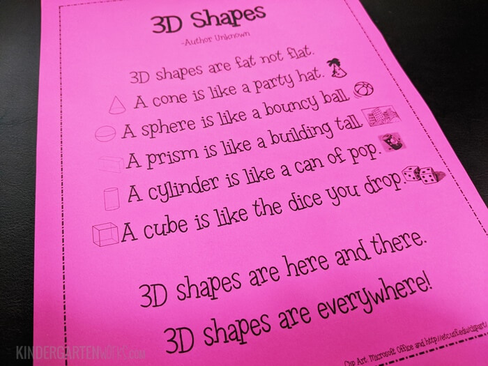 3D Shapes Poem for Kindergarten Real World Objects