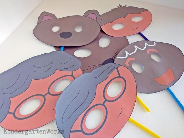 Gingerbread Masks for Kindergarten retell