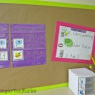 Kindergarten Literacy Centers {Details, Workboard, Routine}