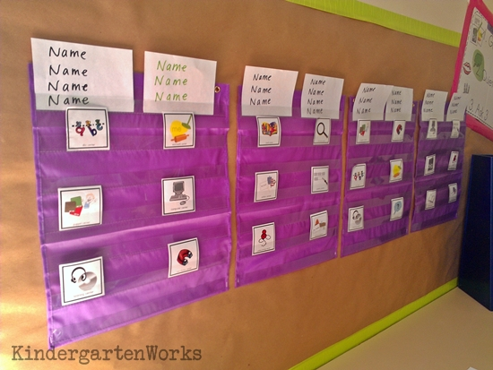 Kindergarten Literacy Centers {Details, Workboard, Routine