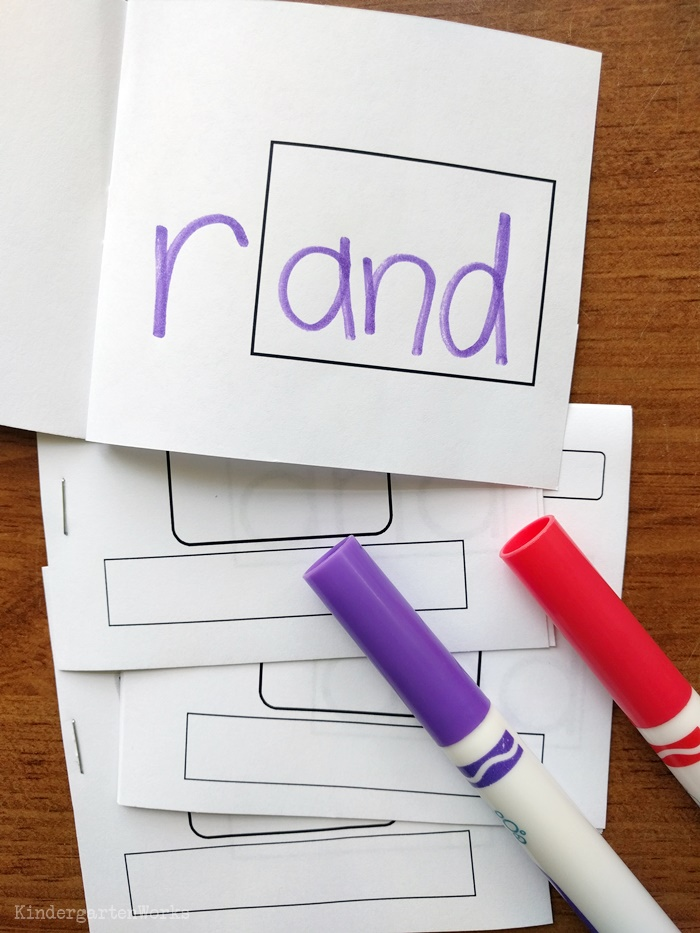 Mini booklets to teach word families and how to blend onset and rime for kindergarten - student fills in whole page