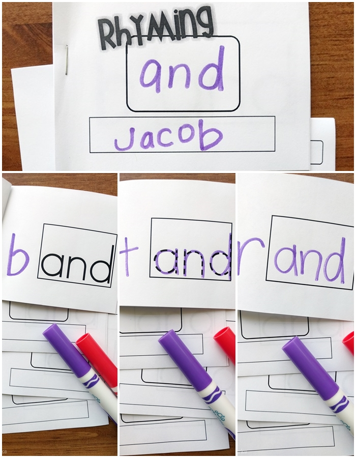 little mini rhyming books to teach word families