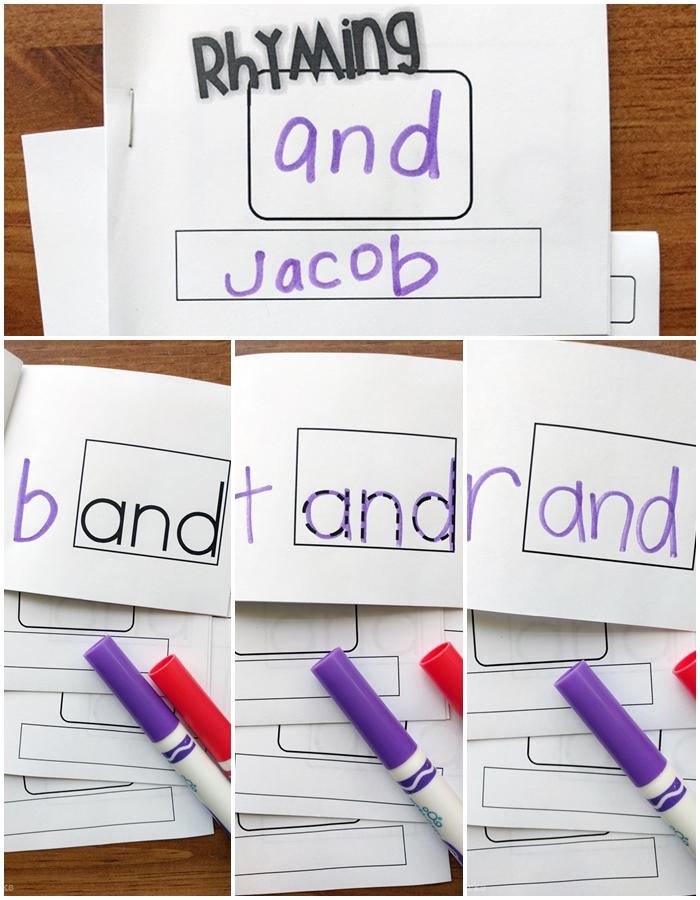 little mini rhyming books to teach word families