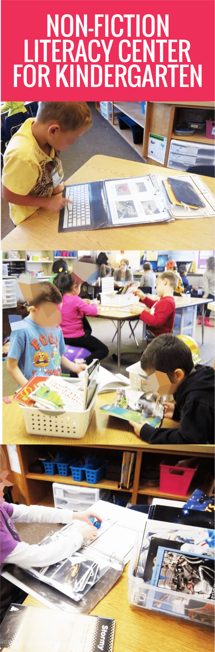 Easy Non-Fiction Literacy Center for Kindergarten - year long center activity with free printables