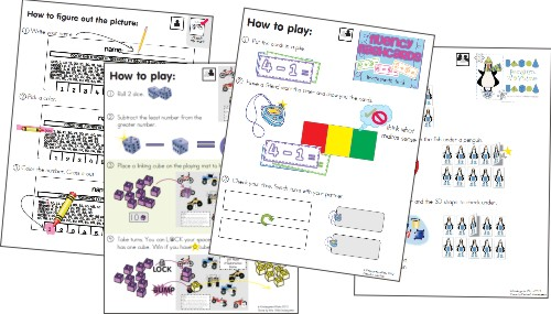 Free Picture Directions for 12 Math Games {printable}