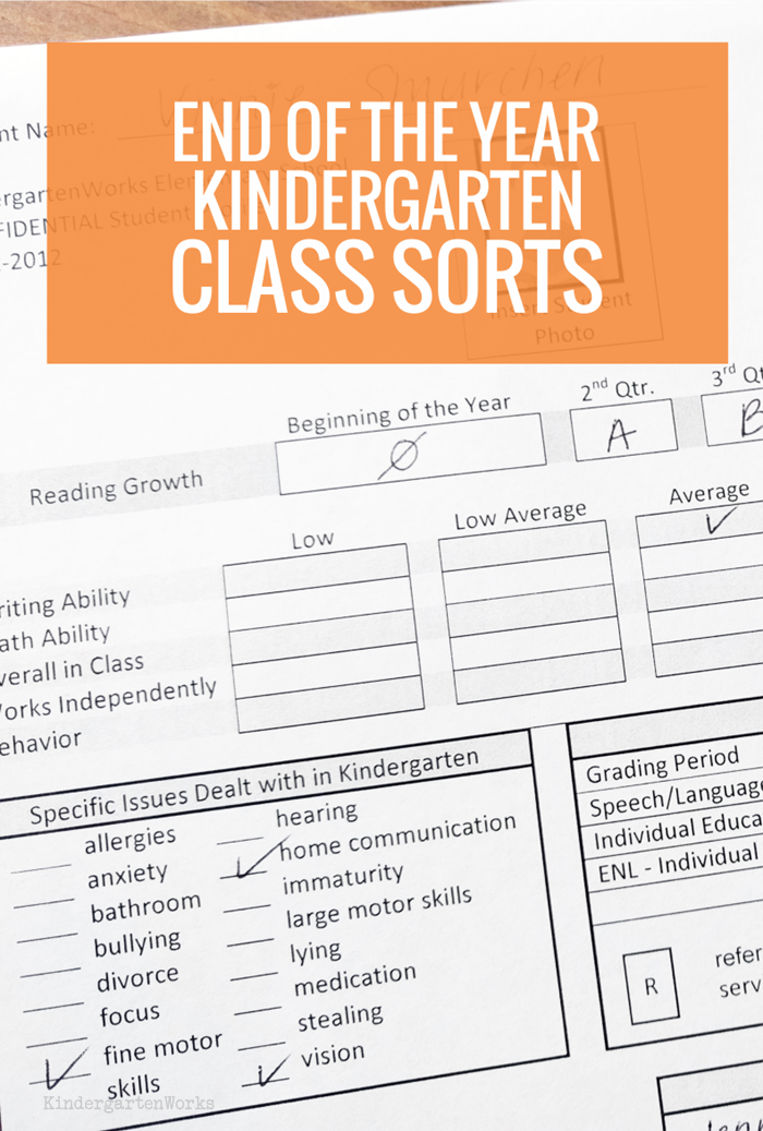 Free End of the Year Kindergarten Class Sort Profile Sheet