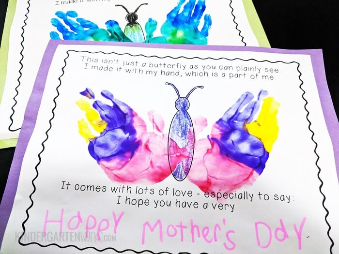 Free Kindergarten Hand print Activity for Mother's Day