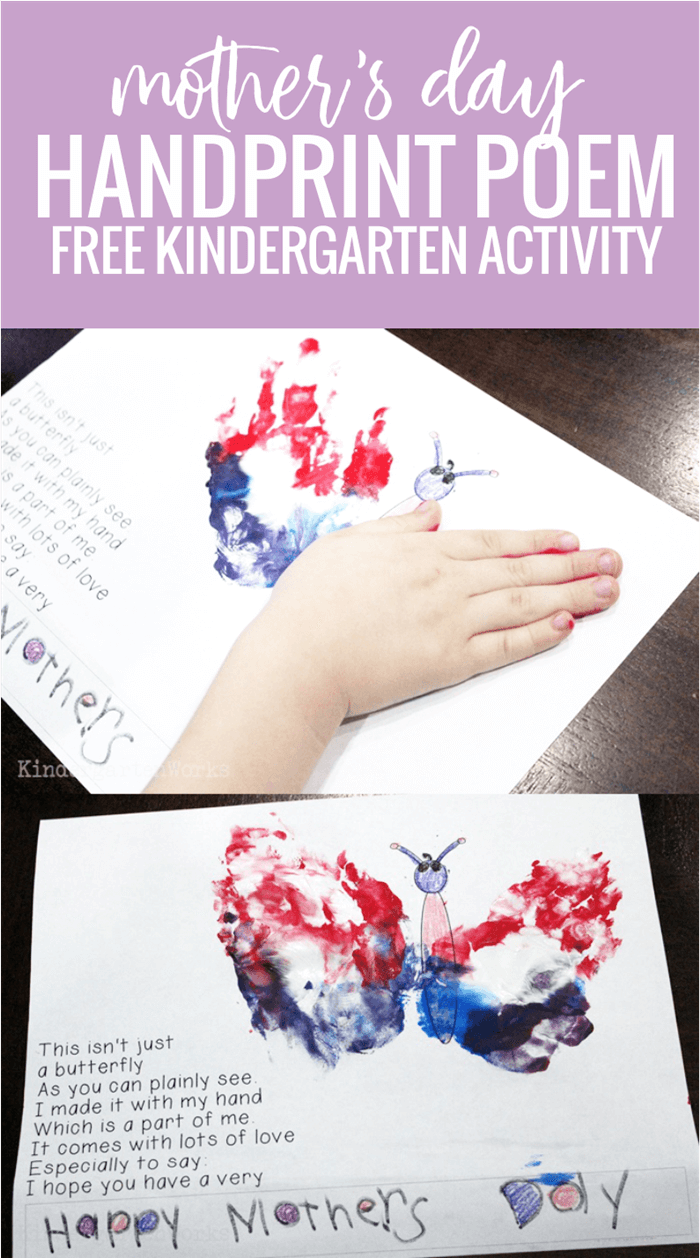 Mothers Day Handprint Poem Free Kindergarten Activity Kindergartenworks For all the times you gently picked me up when i fell down for all the times you tied my shoes and tucked me into bed or. mothers day handprint poem free