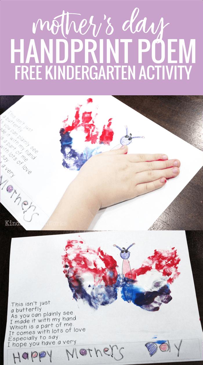 Free Mothers Day Handprint Poem for Kindergarten