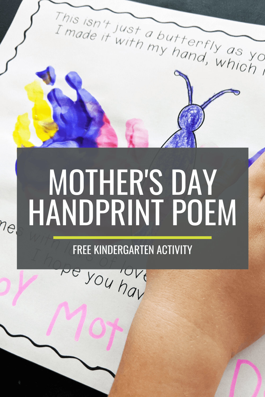 Mothers Day Handprint Poem – Free Kindergarten Activity