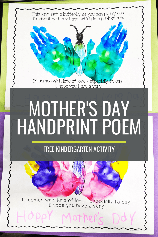 Mothers Day Handprint Poem - Free Kindergarten Activity