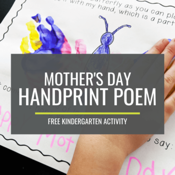 Mother's Day Handprint Poem - Free Kindergarten Activity