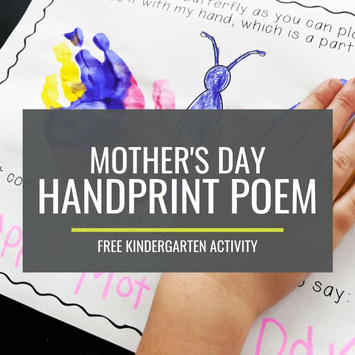 Mother's Day Handprint Poem - Free Kindergarten Activity