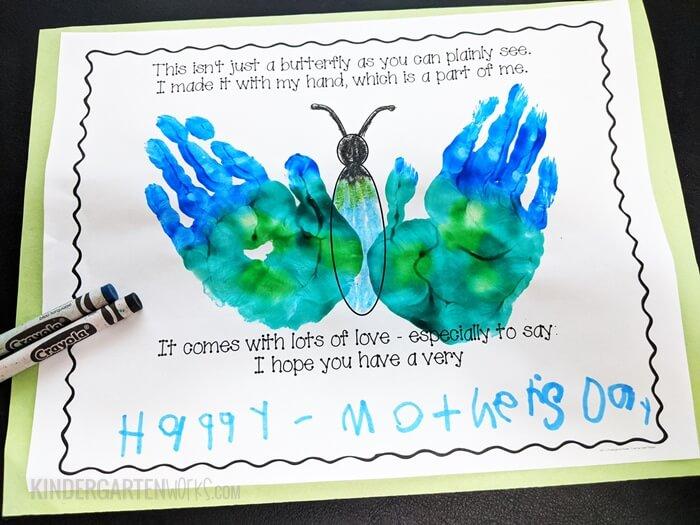 Mothers Day Handprint Poem - Free Kindergarten Activity Template