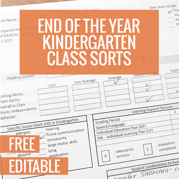 Printable template for End of the Year Kindergarten Class Sort