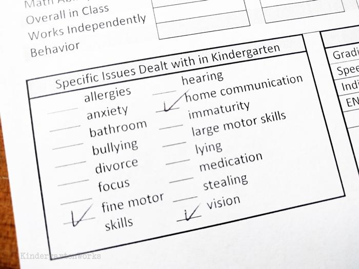 Student Profile Sheets for sorting kindergarten classes