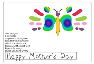 13Creative and Sweet Kindergarten Mother's Day Crafts - GHappy Mother's Day Hand print butterfly Poem - KindergartenWorks