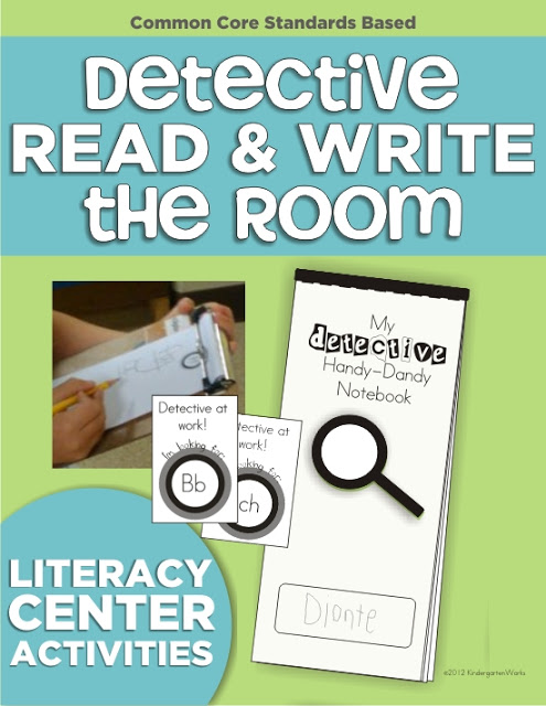 detective literacy center - read and write the room | KindergartenWorks