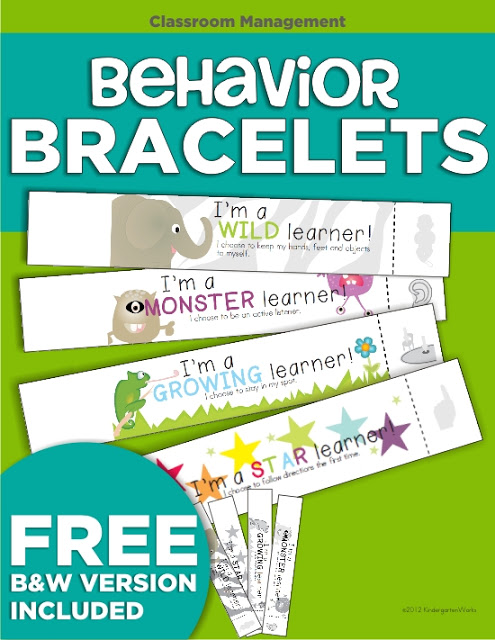 Free Positive Behavior Bracelets for Kindergarten