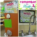 Classroom Routines for the Restroom - wash and flush signs to print and put in the bathroom. I love that they are free!