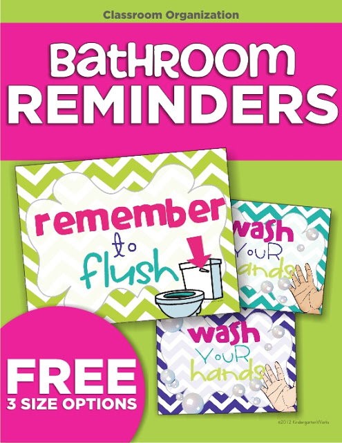 Classroom Routines for the Restroom - wash and flush signs to print (FREE)