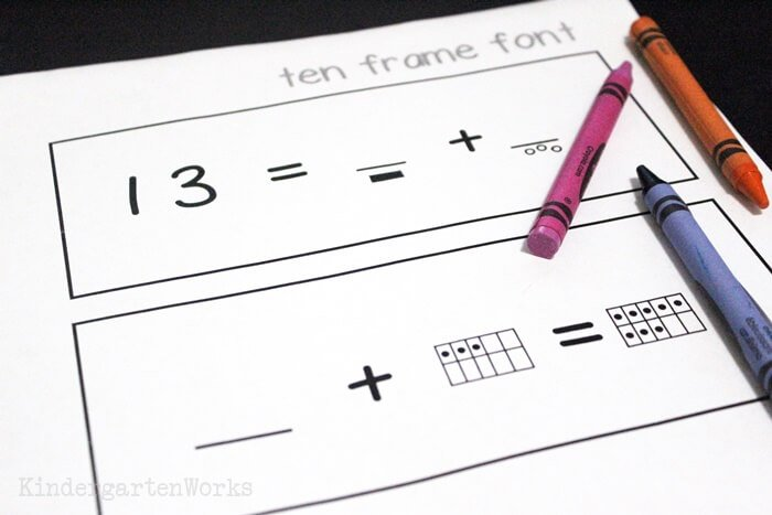 Ten frame font to make math worksheets