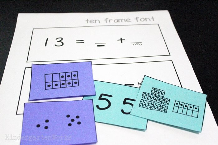 Ten frame font to quickly make ten frames and equation worksheets
