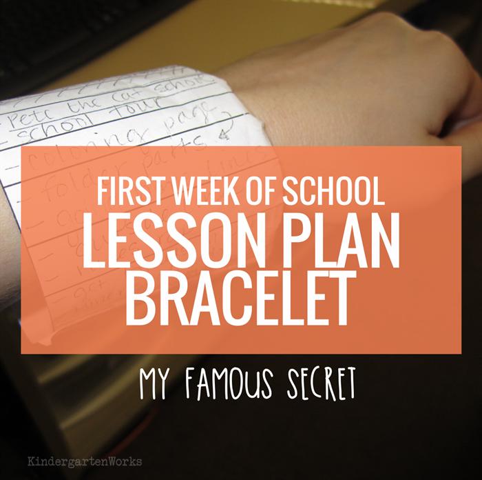First Week of Kindergarten Lesson Plan Bracelet