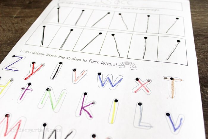 letters that have a straight or slanted stroke for learning handwriting in kindergarten