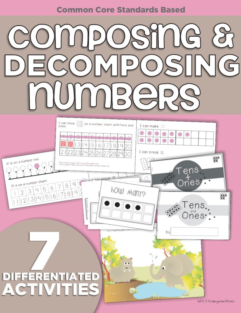 Composing and Decomposing Numbers 11-19 Differentiated Materials - KindergartenWorks