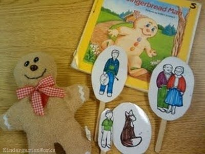 KindergartenWorks: retell literacy center activity - The Gingerbread Man