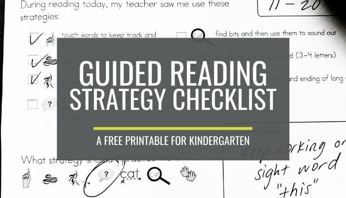 A Free Guided Reading Strategy Checklist for Kindergarten