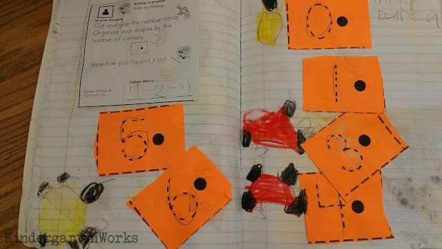 "Teaching to use dots and lines give students who can't write words a way to show their thinking in their math journals when they are ""describing"" 2D shapes."