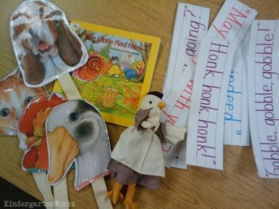 KindergartenWorks: retell literacy center activity - The Little Red Hen