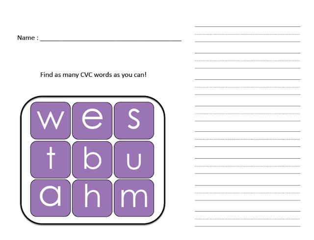 CVC Boggle worksheets for kindergarten - Top 20 Kindergarten Teaching Ideas to Try Right Now