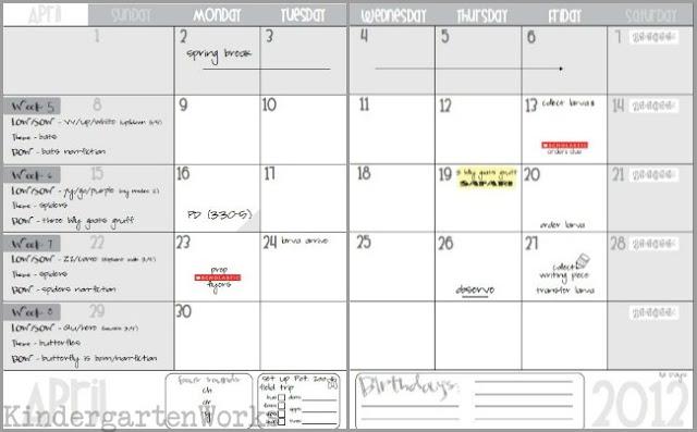 2014-2015 printable calendar for teacher planning - KindergartenWorks