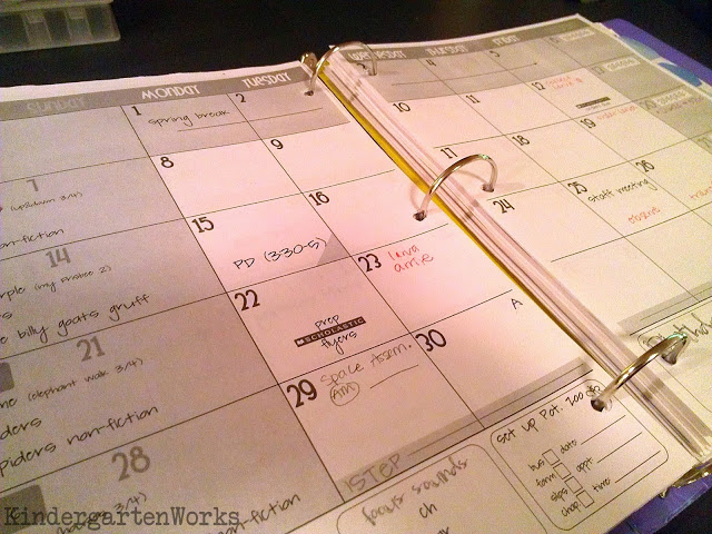 2014-2015 printable calendar for teacher planning - KindergartenWorks