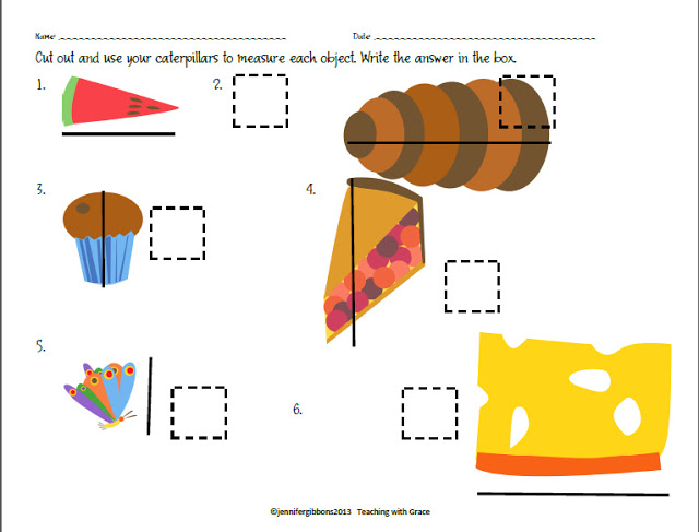 Measuring Worksheet for Very Hungry Caterpillar - Top 20 Kindergarten Teaching Ideas to Try Right Now