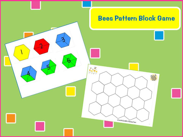 Bees easy pattern block game (free download) - introduce pattern blocks to kindergarten - Top 20 Kindergarten Teaching Ideas to Try Right Now